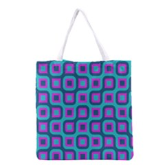 Blue purple squares pattern Grocery Tote Bag