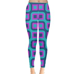 Blue Purple Squares Pattern Leggings