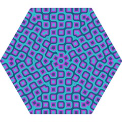 Blue purple squares pattern Mini Folding Umbrella