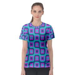 Blue purple squares pattern Women s Sport Mesh Tee