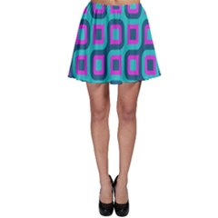 Blue Purple Squares Pattern Skater Skirt