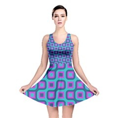 Blue purple squares pattern Reversible Skater Dress