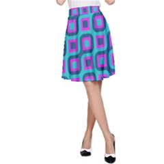 Blue purple squares pattern A-line Skirt