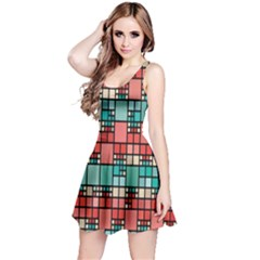 Red and green squares pattern Sleeveless Dress