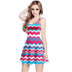 Waves Pattern Sleeveless Dress
