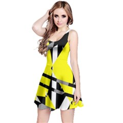 Yellow, black and white pieces abstract design Sleeveless Dress