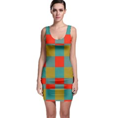 Squares In Retro Colors Bodycon Dress