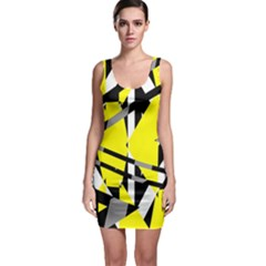 Yellow, black and white pieces abstract design Bodycon Dress