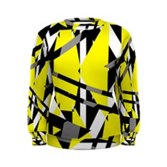 Yellow, black and white pieces abstract design Women s Sweatshirt