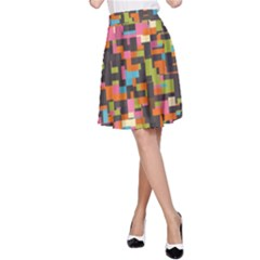Colorful pixels A-Line Skirt