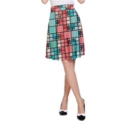 Red and green squares pattern A-Line Skirt
