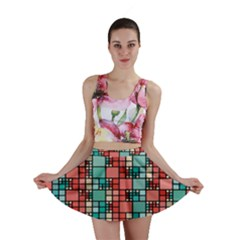 Red and green squares pattern Mini Skirt