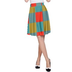 Squares In Retro Colors A Line Skirt