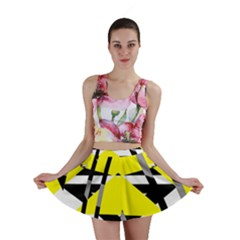 Yellow, black and white pieces abstract design Mini Skirt