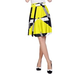 Yellow, Black And White Pieces Abstract Design A Line Skirt