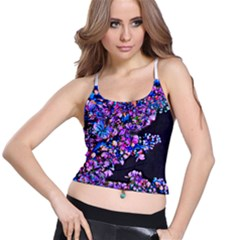 Abstract Lilacs Women s Spaghetti Strap Bra Top