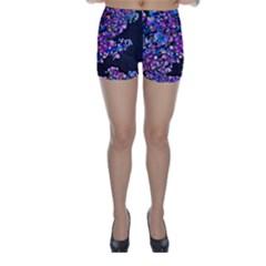 Abstract Lilacs Skinny Shorts