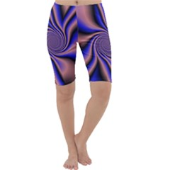 Purple blue swirl Cropped Leggings