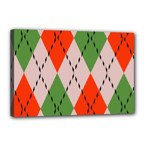 Argyle Pattern Abstract Design Canvas 18  X 12  (stretched)