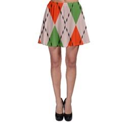 Argyle pattern abstract design Skater Skirt