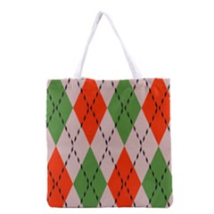 Argyle Pattern Abstract Design Grocery Tote Bag