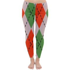 Argyle pattern abstract design Winter Leggings