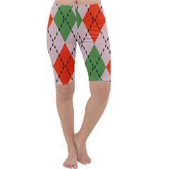 Argyle Pattern Abstract Design Cropped Leggings