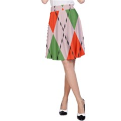 Argyle pattern abstract design A-line Skirt