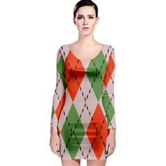 Argyle pattern abstract design Long Sleeve Bodycon Dress