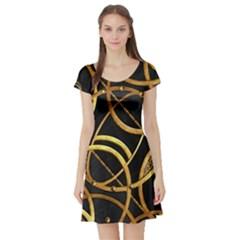 Futuristic Ornate Print Short Sleeved Skater Dress