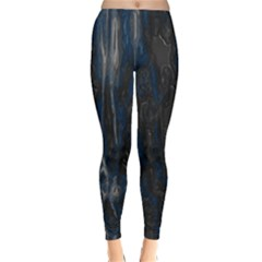 Blue black texture Winter Leggings