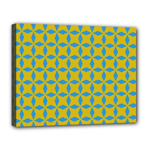 Blue Diamonds Pattern Canvas 14  X 11  (stretched)