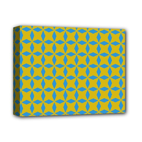 Blue Diamonds Pattern Deluxe Canvas 14  X 11  (stretched)