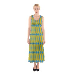 Blue Diamonds Pattern Full Print Maxi Dress