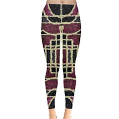 Tribal Style Ornate Grunge Pattern  Leggings