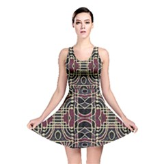 Tribal Style Ornate Grunge Pattern  Reversible Skater Dress