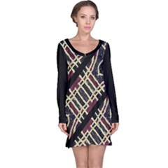 Tribal Style Ornate Grunge Pattern  Long Sleeve Nightdress