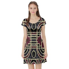 Tribal Style Ornate Grunge Pattern  Short Sleeved Skater Dress
