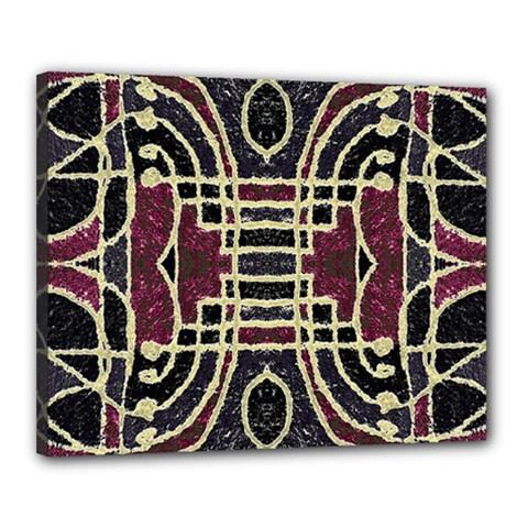 Tribal Style Ornate Grunge Pattern  Canvas 20  x 16  (Framed)