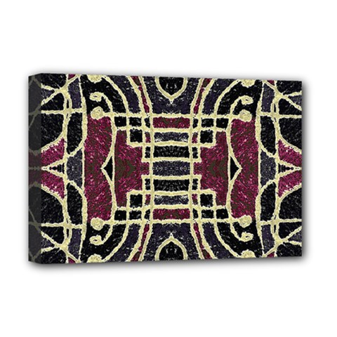 Tribal Style Ornate Grunge Pattern  Deluxe Canvas 18  X 12  (framed)