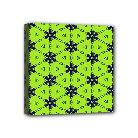 Blue Flowers Pattern Mini Canvas 4  X 4  (stretched)