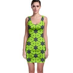 Blue flowers pattern Bodycon Dress