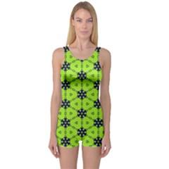 Blue Flowers Pattern Women s Boyleg Swimsuit
