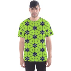 Blue flowers pattern Men s Sport Mesh Tee