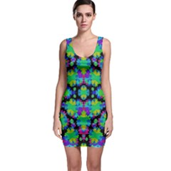 Multicolored Floral Print Geometric Modern Pattern Bodycon Dress