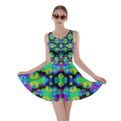 Multicolored Floral Print Geometric Modern Pattern Skater Dress