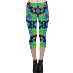 Multicolored Floral Print Geometric Modern Pattern Capri Leggings