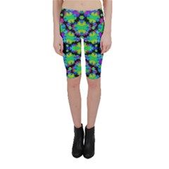 Multicolored Floral Print Geometric Modern Pattern Cropped Leggings