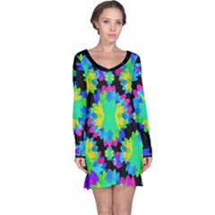 Multicolored Floral Print Geometric Modern Pattern Long Sleeve Nightdress