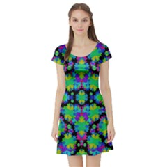 Multicolored Floral Print Geometric Modern Pattern Short Sleeved Skater Dress